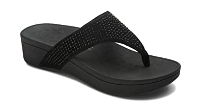 ae1d318e8b2 Vionic Women s Naples Platform Sandal - Toe Post Sandals with Concealed  Arch Support Black 5 M