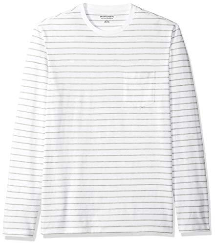 Amazon Essentials Men's Slim-Fit Long-Sleeve Pocket T-Shirt, White/Light Grey Heather Stripe, Small 100% Cotton White Tee