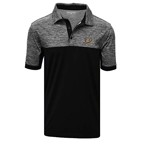 Levelwear NHL Anaheim Ducks Mens Chaos Insignia 2-Color Polo, Heather Charcoal/Black, XX-Large -