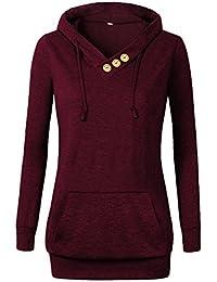 Women's Sweatshirts Long Sleeve Button V-Neck Pockets Pullover Hoodies