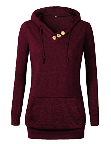 Burgundy Sweater - VOIANLIMO Women's Sweatshirts Long Sleeve Button V-Neck Pockets Pullover Hoodies Burgundy L