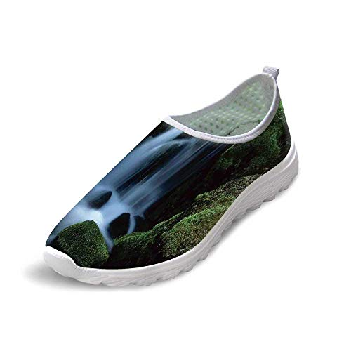 TecBillion Natural Waterfall Decor Comfortable Running ShoesFlowing Water from Mountain Stream Moss Covered Stones Picture for Men Boys,US 12