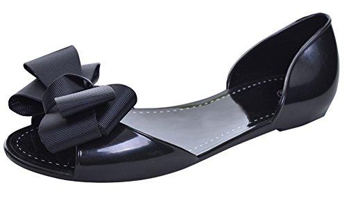 Minetom Mujer Verano Casual Zapatos Bowknot Redondos Planos De Ballet Conducción Fondo Suave Cómodos Fisos Flats con Puntera Abierta Bailarinas Shoes Negro