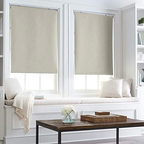Thermal Insulated 100% Blackout Waterproof Fabric Custom Window Roller Shades Blinds,55″ W x 64″ L, Light Gray