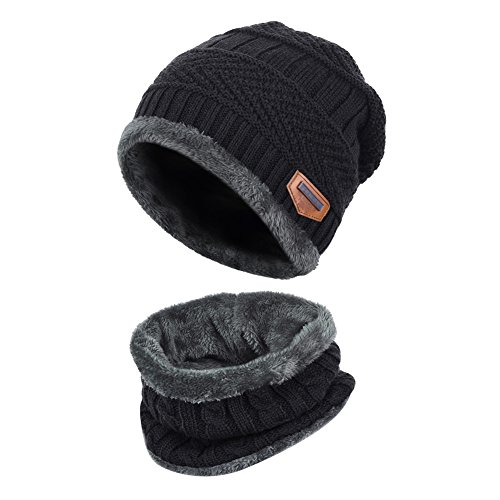 Knit Boys Beanie (Vbiger Kids Winter Knit Hat and Circle Scarf with Fleece Lining, 2 Pieces Warm Hat Set for Boys Girls (Black))