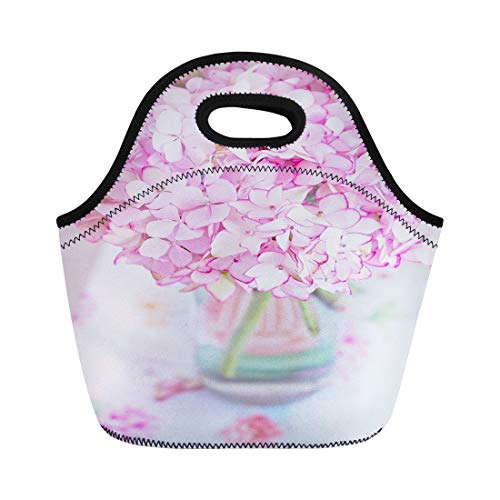 (Semtomn Lunch Bags Green Pastel Beautiful Pink Hydrangea Flowers in Vase Neoprene Lunch Bag Lunchbox Tote Bag Portable Picnic Bag Cooler Bag)