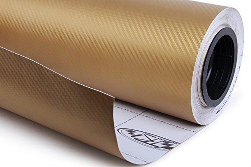 Golden 3D Carbon Fiber Film Twill Weave Vinyl Sheet Roll Wrap (24