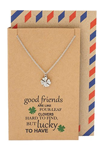 Quan Jewelry Four Leaf Clover Heart-Shaped Leaves Friendship Pendant Necklace with Best Friends Quotes on Thank You Card, Gifts for Girls, BFF, Women