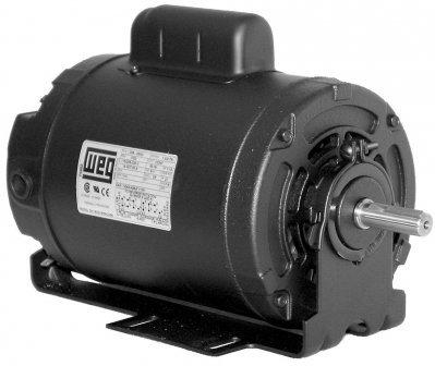 WEG Electric, 00118ES1BRBPFD56, 1HP, 1800RPM, 1PH, 115V;208V;230V, D56 Frame, Standard Flange, Resilient Base, TEAO, HVAC Motor (Resilient Base). ()
