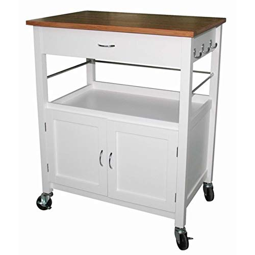 Andover Mills Kibler Kitchen Island Cart with Natural Butcher Block Bamboo Top, Rolling Kitchen Table cart ()