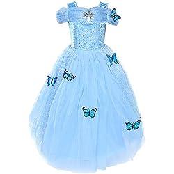 Loel Cinderella Dress Princess Costume Simulation Butterfly Dress,120cm for 4-5YS
