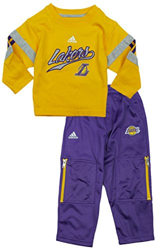 NBA Los Angeles Lakers Little Boys Toddler 2-piece Long Sleeve Tee And Pant Set by Adidas