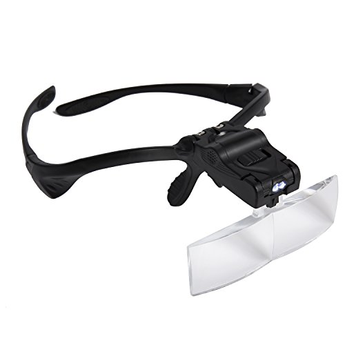 CAPOLUS Head Mount Magnifier Eyewear with 2 LED Professional Jeweler's Loupe Light Bracket & Headband are Interchangeable 5 Replaceable Lenses: 1.0X, 1.5X, 2.0X, 2.5X, 3.5X for Seniors, Hobbyists by CAPOLUS