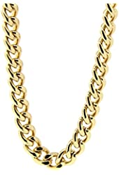 "Mens 18k Gold Plated 36"" Inches Hip Hop Cuban Curb Link Chain Necklace 10mm"