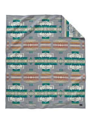 Pendleton Queen Size Blanket - Pendleton Chief Joseph Grey Queen Size Wool Bed Blanket