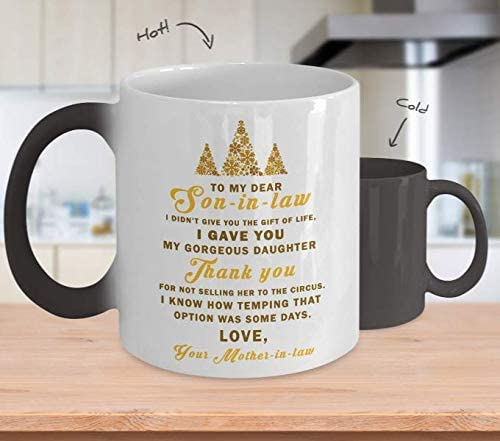 To Son In Law Gift Son-In-Law Color Changing Mug From Mother In Law My Gorgeous Daughter Mugs Cup Xmas Gifts