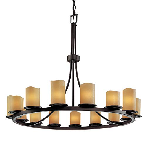 - Justice Design Group CandleAria 15-Light Chandelier - Dark Bronze Finish with Amber Faux Candle Resin Shade