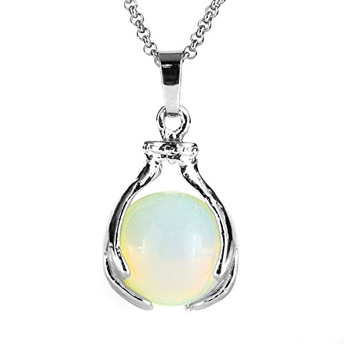 BEADNOVA Healing Synthetic Opalite Gemstone Necklace Crystal Ball Pendant Necklace with Stainless Steel Chain 18 Inches