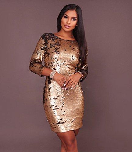 a Mini Oro Vestito Con Donna Manica Abito Elegante Festa 3 Cocktail Moda Rotondo Collo 4 Sentao Paillettes da 4qwn1PIHx