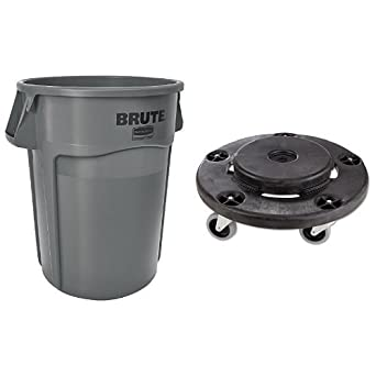 4cafe939 Rubbermaid Commercial Brute Trash Can WITH Dolly (Vented, 32 gallon ...