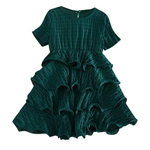Toddler Child Kids Girls Tiered Dresses Comfy Solid Color Short Sleeve Ruffle Skirts Summer Cotton Swing Dresses Outfits (Green, 3-4 Years) (Tiered Branches)