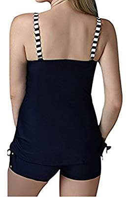 CharmLeaks Women's Two Piece Big Cup Bandeau Stripe Tankini Set Swimsuit