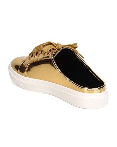 Cape Robbin Ga66 Mujeres Metallic Leatherette Round Toe Lace Up Sneaker Slipper Gold