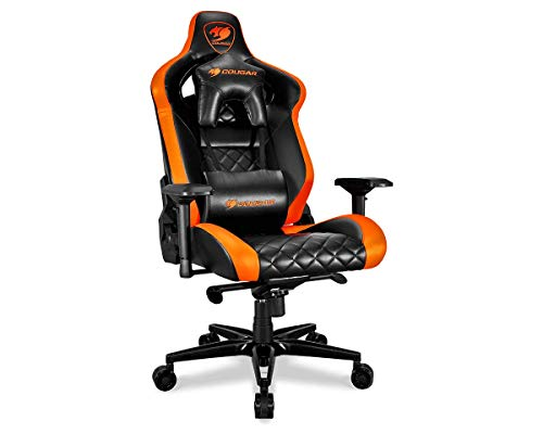 Gaming Chair Ultimate - Cougar Armor Titan ultimate gaming chair with premium breathable pvc leather, 160kg support, 170 degree reclining (Black and Orange)