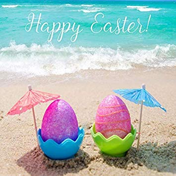 OFILA Beach Easter Backdrop 6.5x6.5ft Painted Eggs Photography Background Seaside Holidays Party Decoration Kids Easter Photobooth Happy Easter Photos School Events Video Props