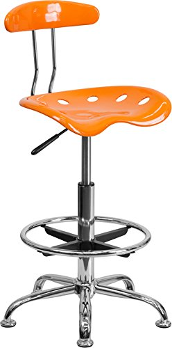 Offex Vibrant Drafting Stool with Tractor Seat, Orange and Chrome