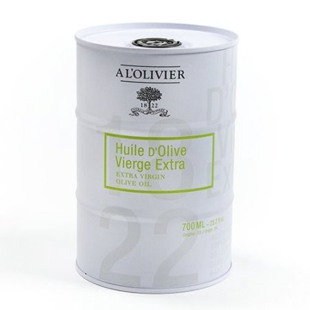 A L'Olivier Extra Virgin Olive Oil in a white Tin Can - 23.7 FL. oz