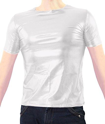 VSVO Adult White Metallic Wet Look T-Shirts (XX-Large, White) (Wet T Shirt Costume Halloween)
