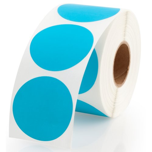 Blue Round Color Coding Inventory Labeling Dot Labels / Stickers - 1.5 Inch Round Labels 500 Stickers Per Roll