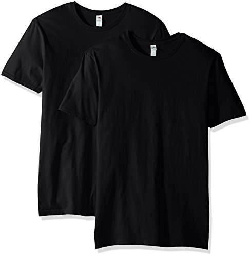 Fruit of the Loom Men's Crew T-Shirt (2 Pack), Black, X-Large