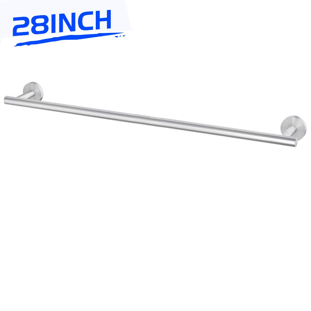 LuckIn 28 Inch Towel Bar Stainless Steel Single Towel Rod, Brushed Nickel Kitchen Towel Holder, Wall Mounted Hand Towel Rack for Bathroom, Silver