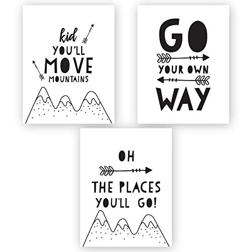 Andaz Press Unframed Kids Baby Nursery Room Wall Art, Black and White Scandinavian Minimalist, Kid You'll Move Mountains, Go Your Own Way, Oh The Places You Will Go, 3-Pack, Frame Sold Separately
