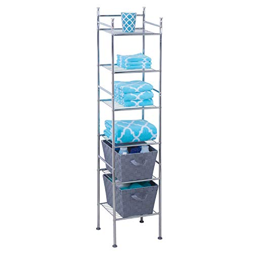 84 6 Tier Metal Tower Bathroom Shelf, 12.6 x 11.02 x 59.84, Chrome ()