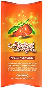 MiralandBerry Miracle Fruit Tablets, Miracle Berry Tablets, 10 Count, Turns Sour Foods to Sweet, 0.12 Ounce (Pack of 1)