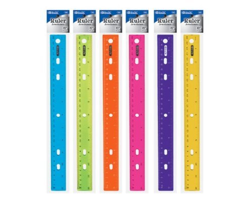 BAZIC 12'' (30cm) Jeweltones Color Ruler, Case Pack of 288 by Bazic