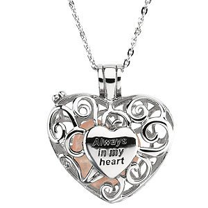 Always in My Heart Rose Quartz Filigree Locket in Sterling Silver Necklace with 18'' Chain by The Men's Jewelry Store (for HER)