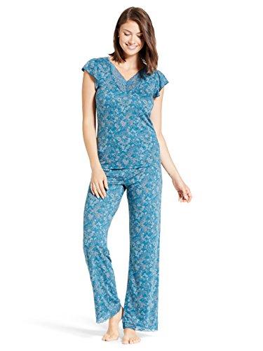Kathy Ireland Womens Cap Sleeve V-Neck Pajama Shirt Elastic Waist Pants Set Corsair ()