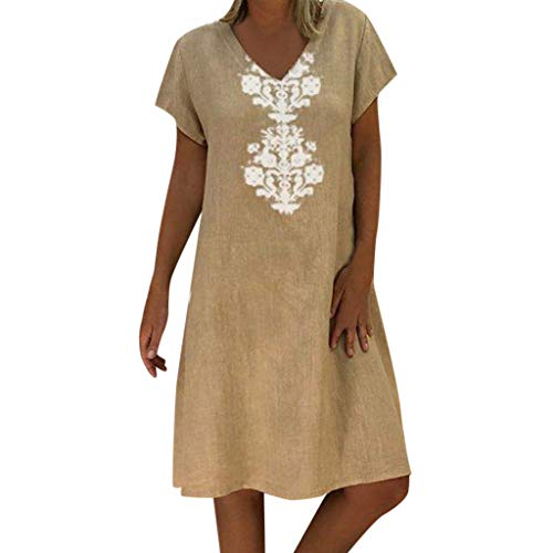 Big Sale! BBesty Women Summer Style Feminino Vestido T-Shirt Cotton Casual Plus Size Ladies Dress Khaki