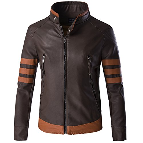 Veste Cuir Longues Simple Fit Marron Fashion Slim Homme Glestore Manches xxl Et En a4qfxBwwd