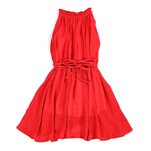 LELEFORKIDS - Toddlers and Girls Soft Cotton Ruffled Mock Neck Chic Dress in Retro Red 7/8