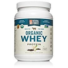 Natural Force® Organic Whey Protein Powder *RANKED #1 BEST TASTING* Grass Fed Whey – Undenatured Whey Protein – Raw Organic Whey, Paleo, Gluten Free Natural Whey Protein, Vanilla Bean, 14.1 oz.