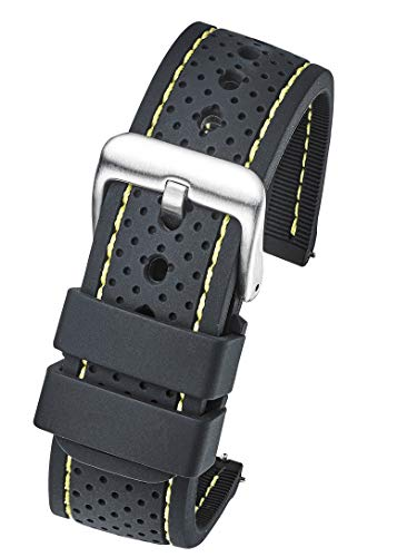 Premium Quality Waterproof Silicone Watch Band Strap with Quick Release - Soft Rubber Black Watch Band 22mm - Yellow Stitching