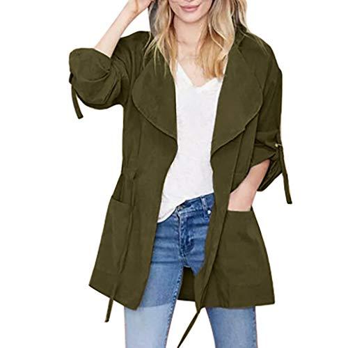 LuluZanm Women's Windbreaker Coat, Sale Ladies Fashion Long Sleeve Pocket Drawstring Jacket Hooded Outerwear Army Green (For Black Lounges Sale Leather)