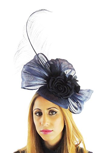 Hats By Cressida Silk Sinamay & Silk Flower Elegant Ladies Ascot Wedding Fascinator Hat Navy by Hats By Cressida