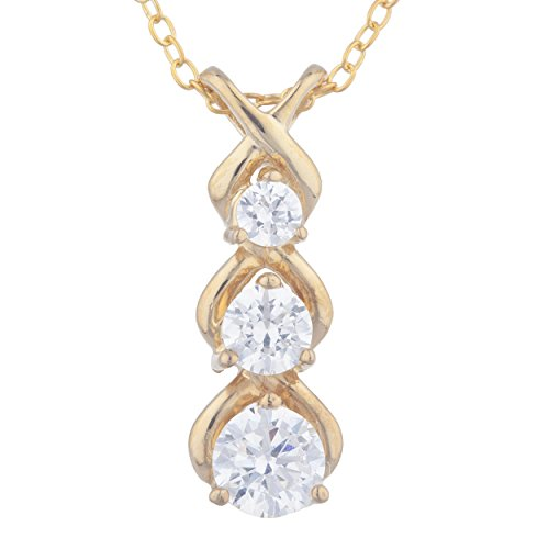 Cubic Zirconia Round Past Present Future Pendant 14Kt Yellow Gold Plated Over .925 Sterling Silver ()