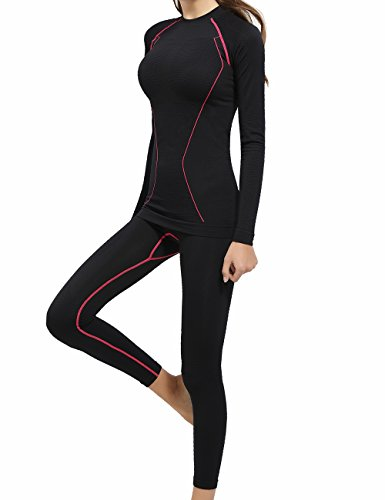 YOOY Women's Ski Thermal Underwear Sets Sports Snowboarding Shirts and Pant Black M (Set Women Snowboarding)
